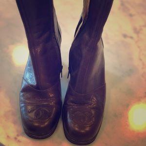 Chanel boots. Inside zip. Heel